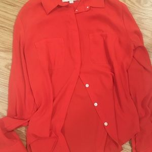 Loft button down sheer red/orange dress shirt